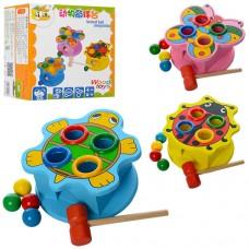 Деревянная игрушка Стучалка MD 0045 молоток, шарики4шт, 3 вида