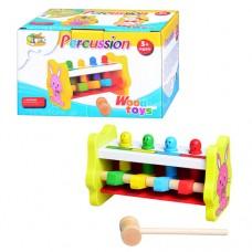 Деревянная игрушка Стучалка MD 0326 игра с 4 фигурками, с молоточком, в цветной коробке 18-11-11 см
