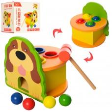 Деревянная игрушка Стучалка MD 1548 шарики 4шт, молоток