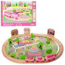 Деревянная игрушка ЖД MD 1056 60-45см, паровоз, вагон 3шт, свет, на батарейках