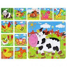 Деревянные пазлы Мир животных MD 0407 12 видов