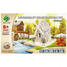 Конструктор PH006 деревянные пазлы 3D, домик-мельница, 36дет 37-23-0, 5