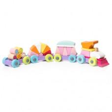 Деревянная игрушка Левеня Cubika Поезд LP-2 35 деталей