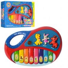 Пианино 2216 A 13 размер пианино 18-12-3, 5см, при нажатии на животных - играет музыка 3 мелодии, клавиши - играют ноты, подсветка, работает от 2-х батареек АА в комплект не входят
