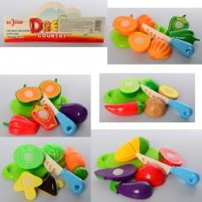 Продукты 626-9-10-11-12-13 на липучке3шт, досточ, нож, 5в овощи/фруктыке