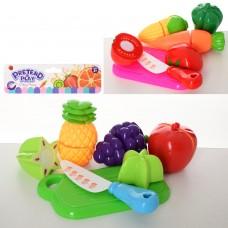 Продукты 6606-1-2 на липучке, 4шт, досточка, нож, 2вида овощи/фруктыке