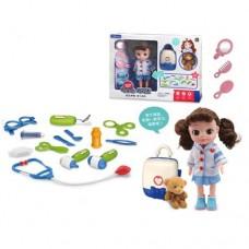 Доктор LB399-4C мед.инструменты, очки, мишка, чемодан, кукла31см