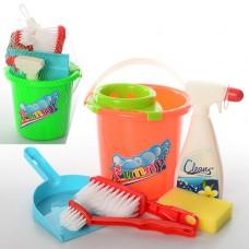 Набор для уборки 089-1 ведро, совок, щетки, губка, моющее средство, 2 цвета, в сетке
