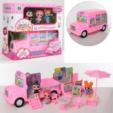 Набор игровой 588-3 LOL, машина-дом на колесах, мебель, кукла3шт, 7см
