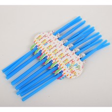 Аксессуары для праздника MET10147-2 трубочки, Happy Birthday, 12 шт, 26 см