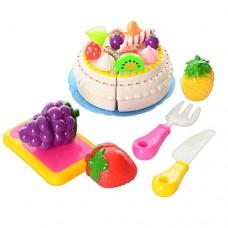 Продукты 170C1 на липучке, торт, фрукты 3шт, нож, досточка, вилкаке