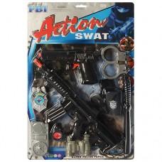 Набор полицейского 2278 автомат, пистолет, дубинка, наручники, значок