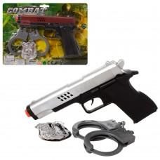 Набор полицейского 928-10-11-12 пистолет21см, наручники, эмблема, 3цвета