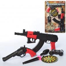 Набор полиции E 01 AK 6-7 2 вида, автомат, пистолет на присосках, мишень
