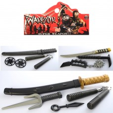 Набор с оружием DS210-Q4-T3-4 ниндзя, меч, микс видов нунчаки, кастет, ножке