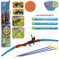 Лук M 0006 UR спортивная игра, лук, 3 стрелы на присосках, прицел, лазер, цветной