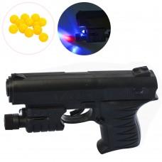 Пистолет 0621B на пульках, 15см, свет, лазер таблке