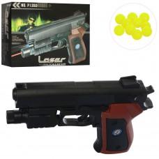 Пистолет 135D на пульках, 16см, лазер, свет, на бат табл
