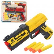Пистолет 555-10 19см, мягкие пули 4шт, 2цвета