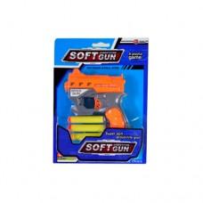 Пистолет 826-16 12см, пули-присоски. 3шт, 2цвета