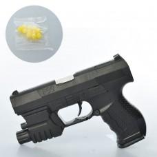 Пистолет HC-777L 15см, на пульках, свет, лазер, на бат табке