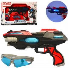 Набор с оружием KT8889-F31-32 бластер30см, 2вида очки, дискомет, зв, св, бат