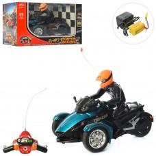 Мотоцикл 838-A12 на радиоуправлении, аккумулятор 28см, фигурка, звук, муз, свет, резин.кол