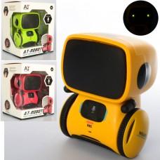 Робот AT001 12, 5см, голос.упр англ, ездит, звук англ, свет, повтор, 3цв, бат