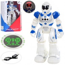 Робот HX889 на радиоуправлении, аккумулятор 25см, ходит, танцует, муз, звук англ, свет, USBзар