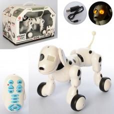 Собака 6013-3 на радиоуправлении, аккумулятор 23см, муз, звук, свет, ездит, танцует, USBзар