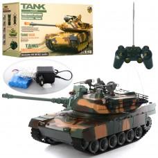 Танк 2865-1 на радиоуправлении, аккумулятор 38 с дулом -18-17см, подв.башн, стрелят, звук, свет, пульк