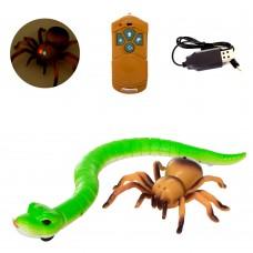 Животное 8906 паук14см/змея45см, , на радиоуправлении, свет, 2цвета, USBзарядн