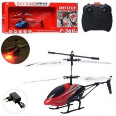 Вертолет F-360 на радиоуправлении, аккумулятор 21см, гироскоп, свет, 2цвета, кор-ке