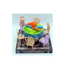 Столовая 157 стол, стуулья, посуда, продукты, кукла10см, 2вида, в слюде