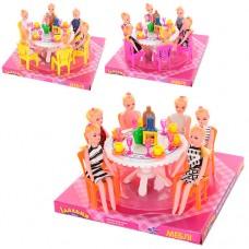 Столовая 501 стол, стулья, куклы 6шт, посуда, микс цветов, в слюде, 22-22-12см
