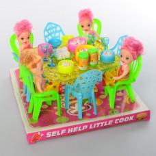 Столовая 66-53 стол, стулья, кукла 4шт, 10см, посуда, продукты, в слюде