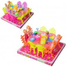 Столовая 66-5 стол, стулья, кукла 4шт, посуда, микс цветов, в слюде