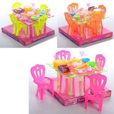 Столовая A8-67 стол, стулья 4шт, столовые приборы, микс цветов, в слюде, 18-17-12см