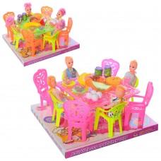 Столовая A8-6A-7A кукла 4шт, 10см, стол, стулья, продукты, 2вида, в слюде