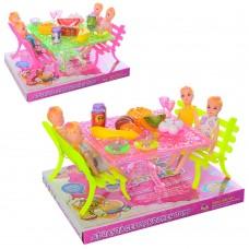 Столовая A8-726 кукла 10см, стол, скамейки, продукты, в слюде, микс видов