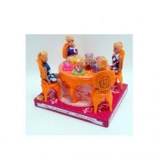 Столовая A8-86 стол, стулья, кукла 4шт, посуда, продукты, в слюде