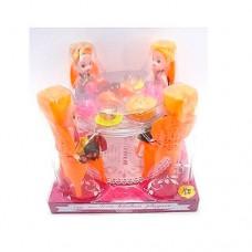 Столовая A8-87 стол, стулья 4шт, кукла 4шт, 10см, посуда, продукты, в слюде