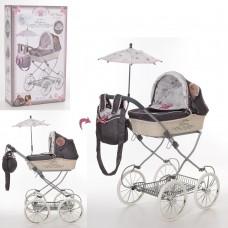 Коляска 81031 для куклы, 68-42-81см, классика, сумка, корзинка, зонт