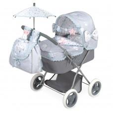 Коляска 85029 для куклы, 65-38-60см, классика, сумка, корзинка, зонт