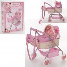 Коляска 86026 для куклы, 50-35-56см, классика, сумка, корзинка