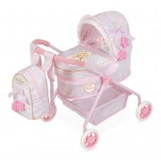 Коляска 86028 для куклы, 50-35-56см, классика, сумка, корзинка