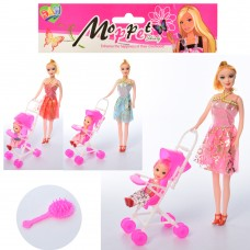 Кукла 888-G 27см, дочка 10см, коляска, расческа, микс видовке
