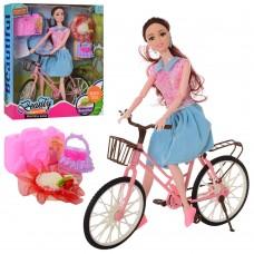 Кукла LY618-D шарнирная, 29см, велосипед, чемодан, сумочка, шляпа
