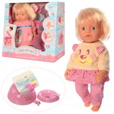 Кукла WZJ020A-11-12 31см, пьет-писяет, горшок, бутылочка, посуда, подгузн, 2вида, 30-29-16с