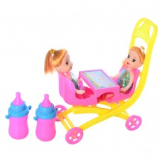 Кукла ZJ688-184 2шт, 10см, коляска 12см, бутылочка 2штке